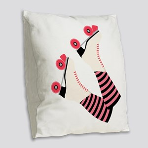 Roller Derby Skates Burlap Throw Pillow